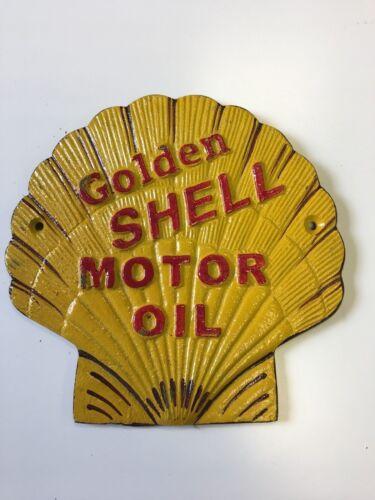 Golden Shell Motor Oil SHELL shape Gasoline Sign advertising cast iron