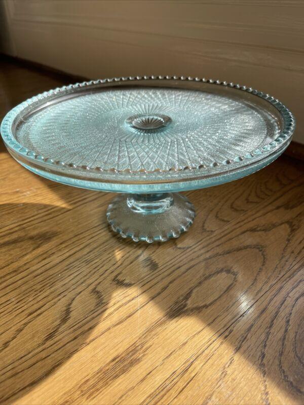 """Vtg Ice Blue """"Harp"""" Glass Cake Stand-Jeannette-1950s-Diamond Pattern-Beaded Rim"""
