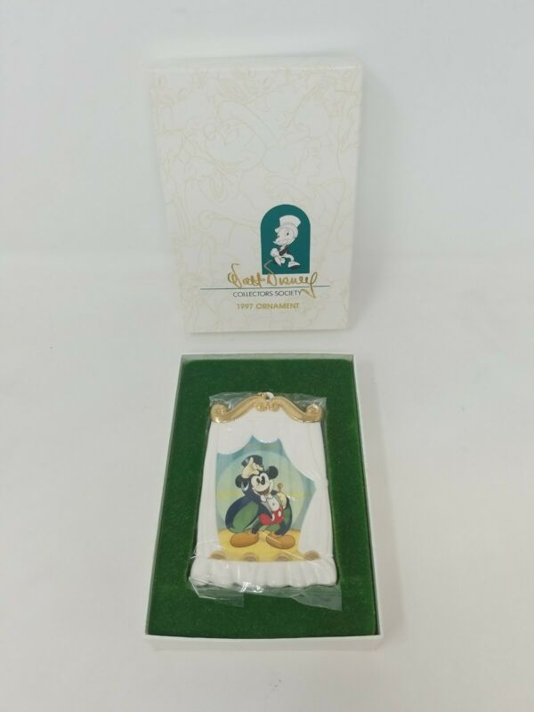 DISNEY WDCC MICKEY MOUSE MAGICIAN 1997 PORCELAIN CHRISTMAS ORNAMENT w/ BOX
