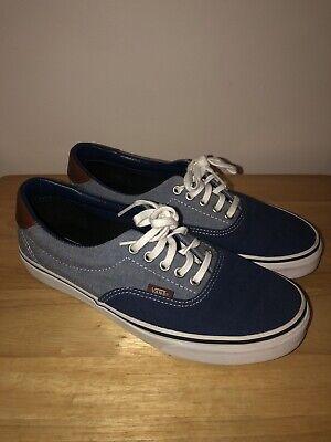 Vans Men's 9/ Women's 10.5 Two Tone Navy/Light Blue Leather Heel Sneaker Shoes
