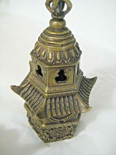 "Vintage Chinese Bronze Lion Head Stupa Pagoda Incense Burner Censer 8"" Tall x 4"""