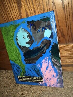 Original Albert Einstein Graphic Painting Photography Mixed Media Art Decor New