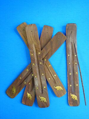 10 INCH Incense Burner Wood Ash Catcher Stick Elephant Star Brass inlay  5 PC  Brass Inlay Stick Incense Burner