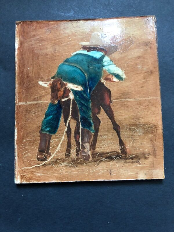 Vintage Goat Rodeo Little Boy Riding Goat Painting Alfred Zeller