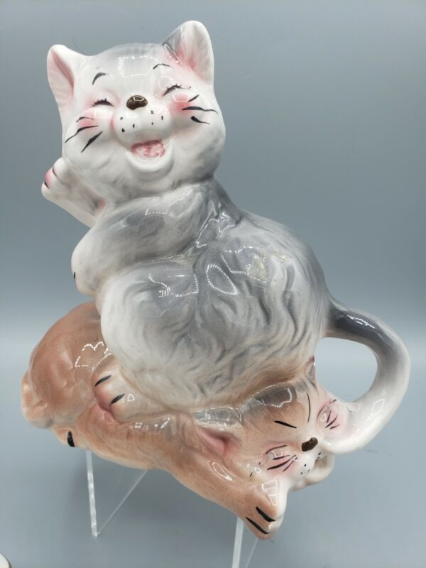Vintage Colorful Adorable Ceramic Playful Naughty Cats Kitty Kittens Coin Bank