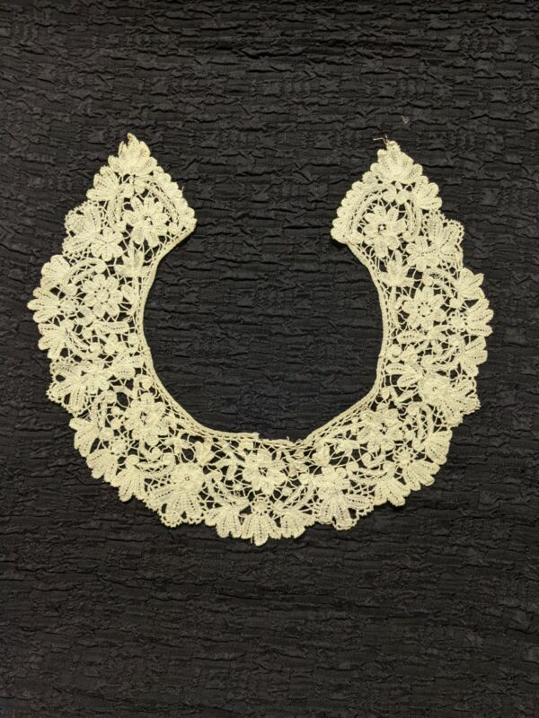 VICTORIAN HANDMADE BRUSSELS FLORAL LACE COLLAR FOR DRESS