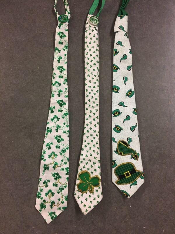 Lot Of 3 St Patricks Day Neckties Handmade Embellished