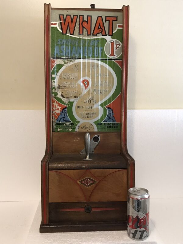 "1940 ESCO One Cent Fortune Predictions  Coin Op Vending Machine Working 28"" Tall"