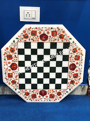 "24"" Chess Marble Octagon Table Top Hakik Inlaid New Year Furniture Decorate E129"