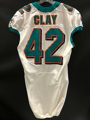 5a11a5da8 #42 CHARLES CLAY MIAMI DOLPHINS GAME USED WHITE AUTHENTIC NIKE JERSEY FULL  PACK
