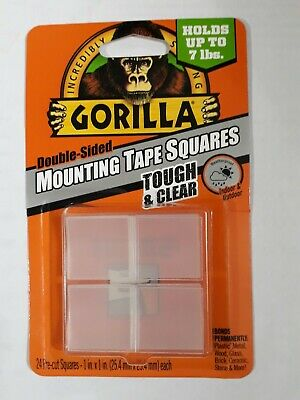 Gorilla Tough Clear Double Sided Mounting Tape Squares 1 Inch Pre-cut Clear