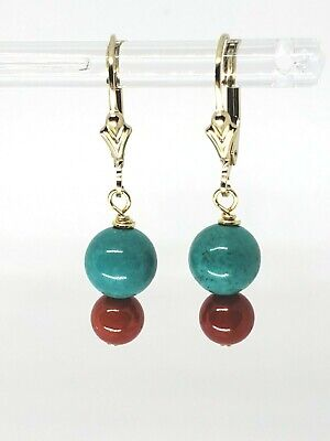 14k Yellow Gold Filled Red Coral and Turquoise Drop Dangle Earrings