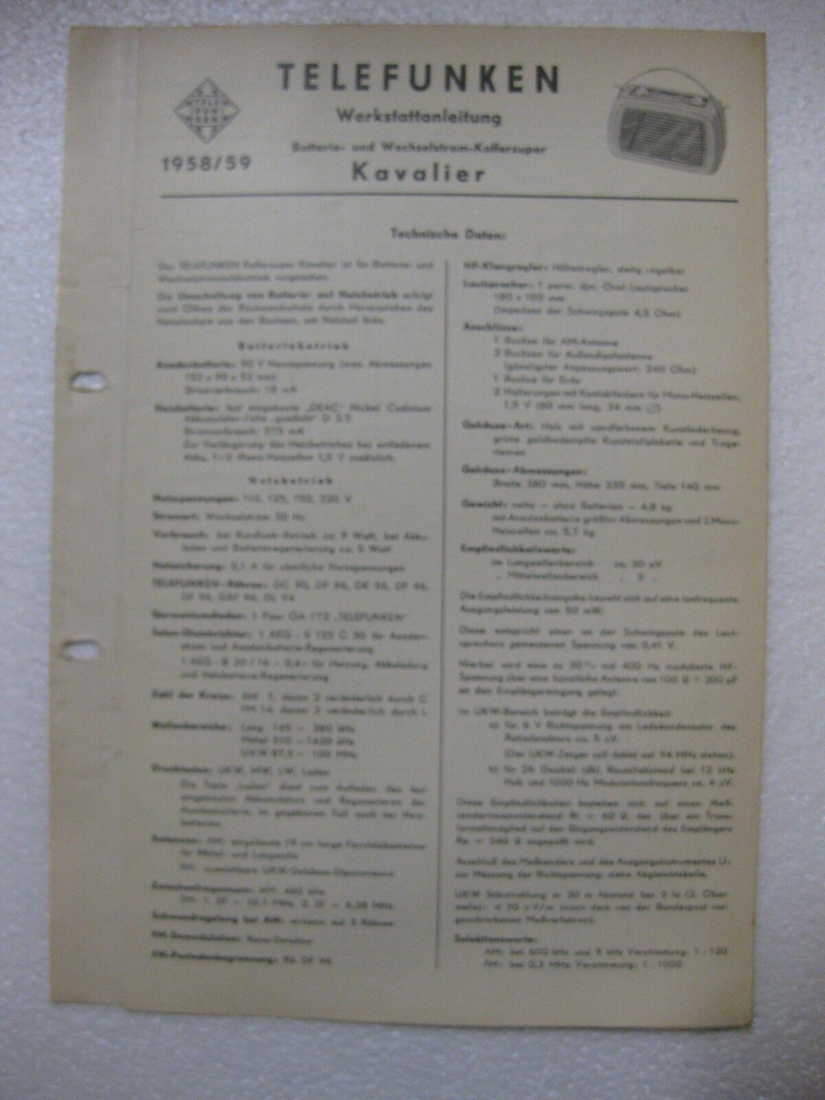 TELEFUNKEN Kavalier Werkstattanleitung / Schaltplan Original 1958/59