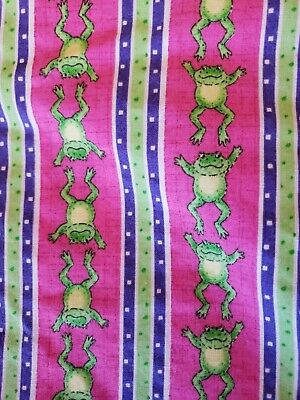 Sewing Fabric Oakhurst Juvenile Print Hot Pink Green Frog Stripe Cotton 3ydsx45