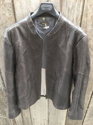 Mens Black Cafe Racer DIESEL Black Gold Distressed Quilted Leather Jacket  XL