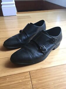 MENS SIZE 8.5 MONKSTRAP LEATHER DRESS SHOES BLACK