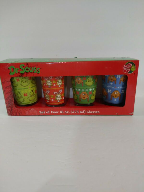 Dr. Seuss How The Grinch Stole Christmas Set of Four 16 oz. Glasses *box damage