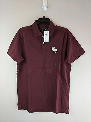 Men's Abercrombie & Fitch Exploded Icon Stretch Polo - Size Medium - Burgundy