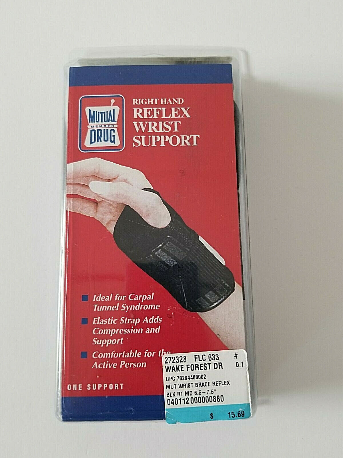 Wrist Support Right Hand Size Medium Ideal For Carpal Tunnel - $4.99
