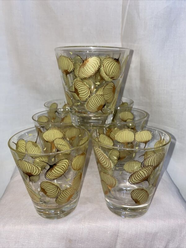 Vintage S/8 FRED PRESS Double Old Fashion Glasses Gold & Yellow Bloom Design