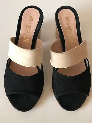 Mr   Mrs Yuo Made In Italy Suede Leather Slides Sandals Size 37 Black Beige 6 5