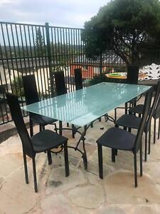 Glass Dining Table with 8 leather chairs, plus coffee table