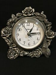 Waltham Battery Quartz Desk Clock, Flower and Butterfly Decorated Pewter Frame
