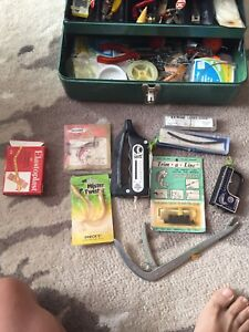 Antique Fishing tackle box with assorted antique tackles & tools