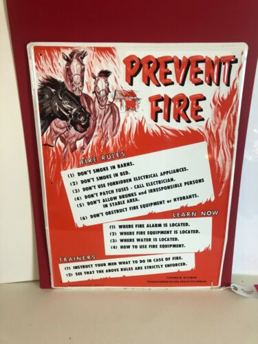 """1950's THOROUGHBRED RACING PROTECTIVE BUREAU """"PREVENT FIRE"""" STABLE BARN TIN SIGN"""