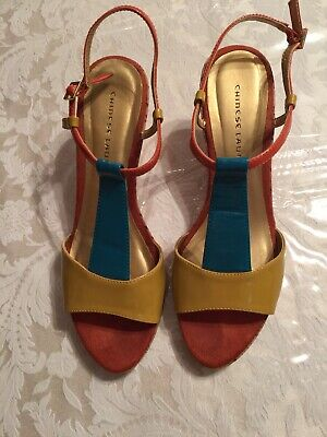Chinese Laundry Wedge Platform Sandals Patent Leather Cork Heels, size  9.5  - Patent Cork Sandals Platforms Heels