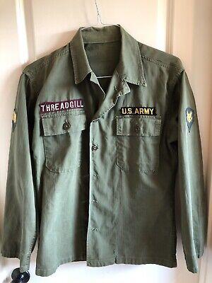 1951 Korean War Era US ARMY OD7 Jacket Shirt Green Herringbone Twill -- SMALL