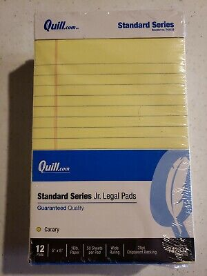 Standard Series Jr. Legal Pads Writing Pads 5x8 50 Sheets Wide Rule 12 Count