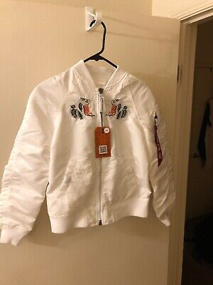 ALPHA INDUSTRIES White flight bomber jacket w/ Tiger embroidered XS (nwt)