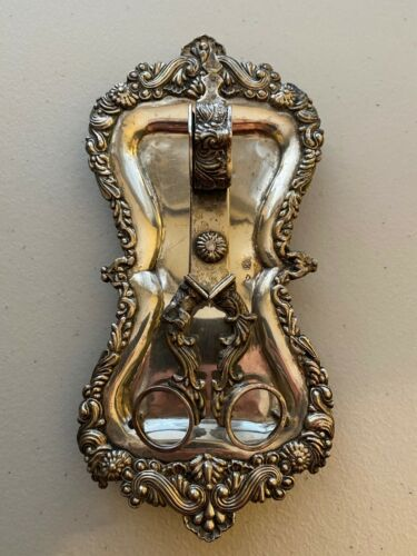 ANTIQUE AUSTRIAN SILVER TABLEWARE CANDLE SCISSORS AND PLATE (2 PIECES)