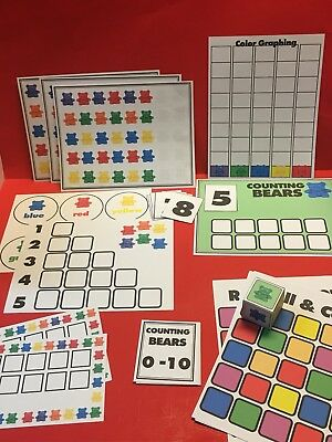 Counting Bears Learning Mats  - Laminated Bundle - Pre school Kindergarten