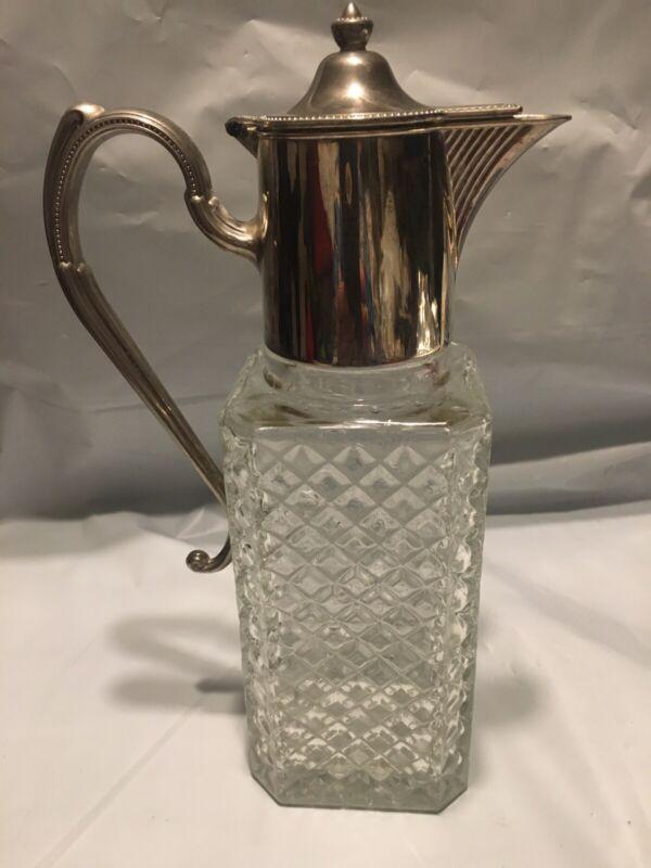 VINTAGE DIAMOND CUT CRYSTAL CARAFE SILVER PLATED PITCHER MADE ENGLAND E.P. ZINC