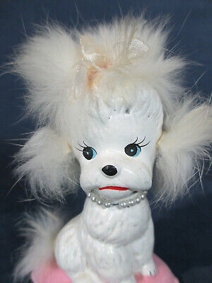 - Poodle Dog On Pink Pillow Vintage Enesco Japan Fuzzy Fur Ears Pearl Collar Label