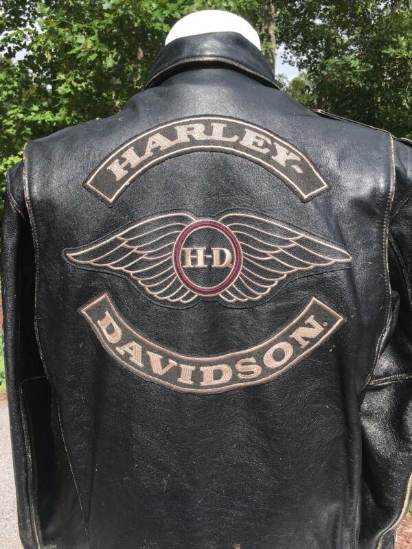 Harley Davidson Men's MOTOCRUISE Leather Jacket Medium Black Distressed Bomber