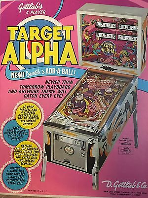 """""""TARGET ALPHA"""" 1976  PINBALL PROMO  BROCHURE-""""MINT"""" IN PLASTIC COVER"""