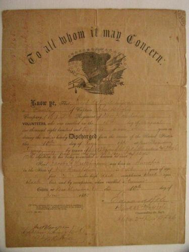 CIVIL WAR NEW HAMPSHIRE SOLDIER DISCHARGE VIRGINIA 1865