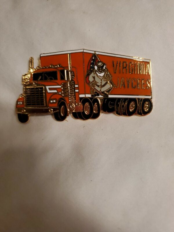Virginia Jaycees Pin 18 wheeler semi truck orange