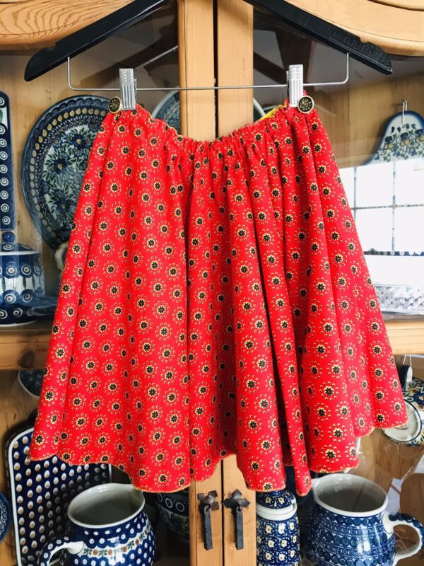 Vintage Handmade Circle Skirt Girls German Style Red Flowers Lined Size Med 8-10