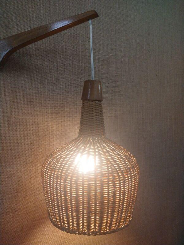 Vintage Wicker Basket Hanging Swing Arm Lamp-Mid Century Teak-Tiki-Danish Style!