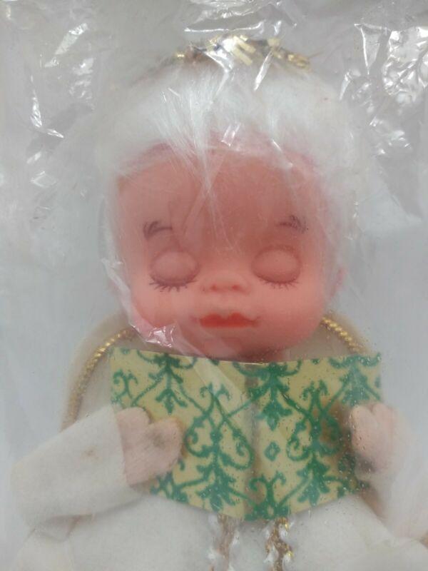 Vintage Napco Felt Angel Ornament Closed Eyes Still In Package Japan
