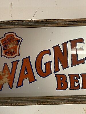 Vintage Wagner Beer Reverse On Glass Painted Sign