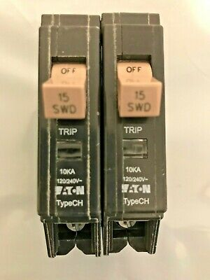 LOT OF 5 CUTLER HAMMER CH CH115 CIRCUIT BREAKER 15A 15 AMP 1P 240V PLASTIC CLIPS