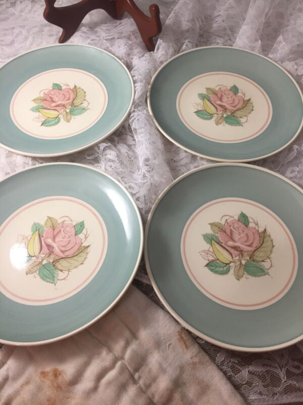 "set of 4 Susie Cooper Patricia Rose 8"" Salad Plates EUC  #129"