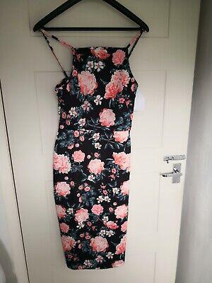 Superdry womens BNWT Black/floral Bodycon Dress Size XS SIZE 8