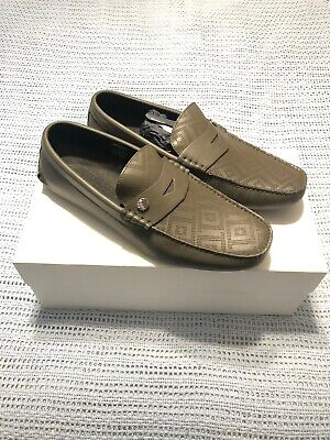 Versace Collection Geometric Greek Green Loafers Size 42 Brand New