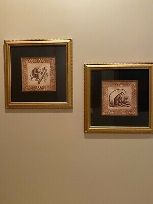 Monkey artwork matted and framed - excellent condition